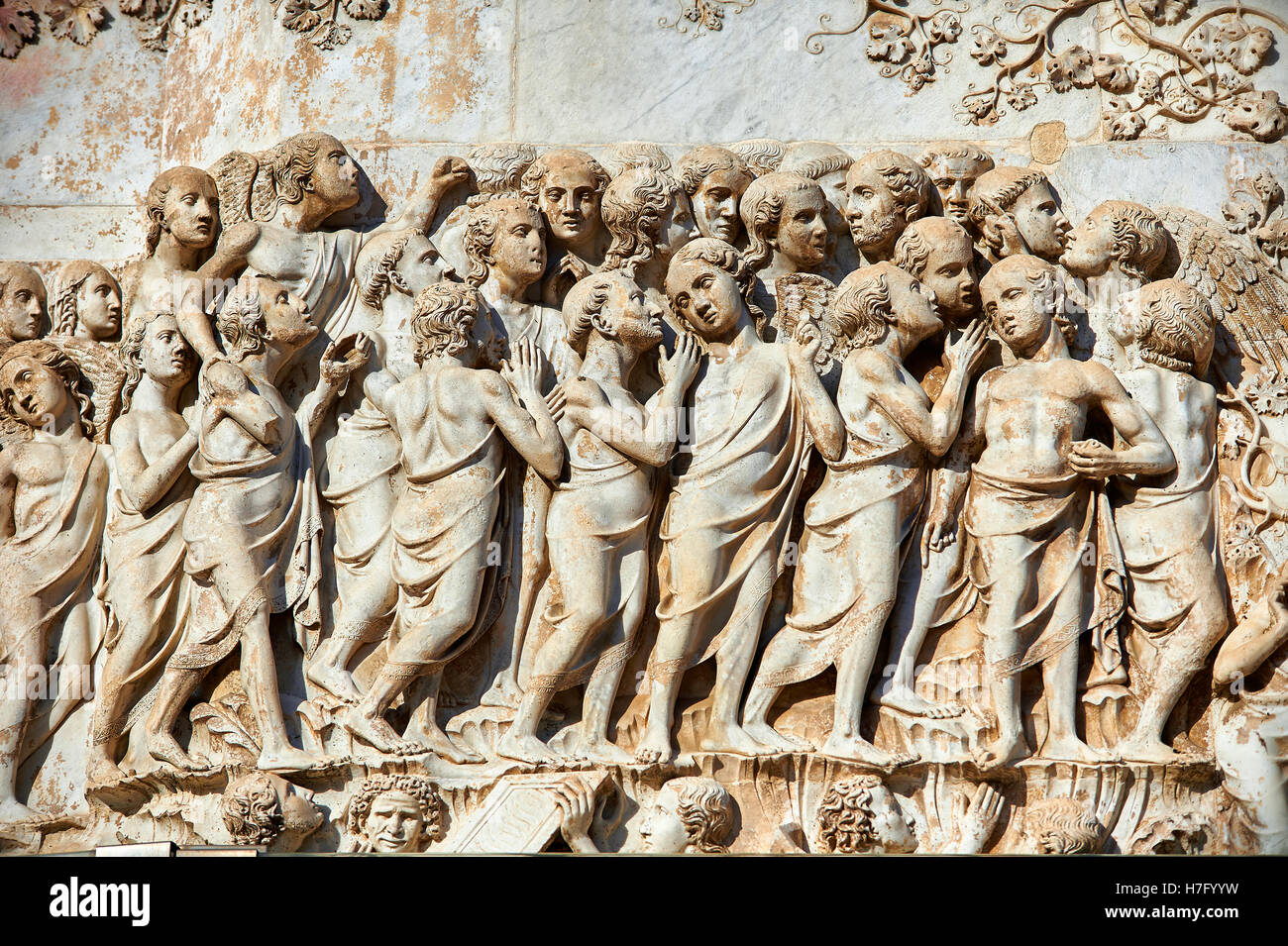 Bas-relief of the Last Judgment by Maitani, circa1310, Tuscan Gothic,  facade Orvieto Duomo Cathedral, Umbria, Italy - Stock Image