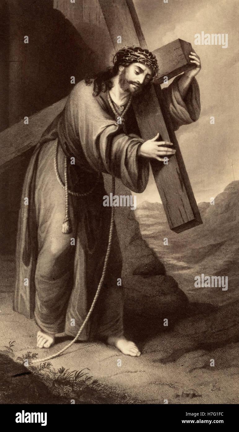 jesus christ carrying his cross stock photos jesus christ carrying