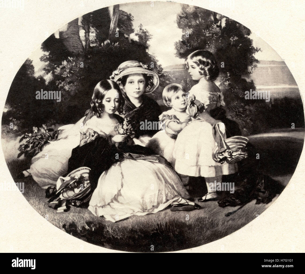Four daughters of English queen Victoria, etching - Stock Image
