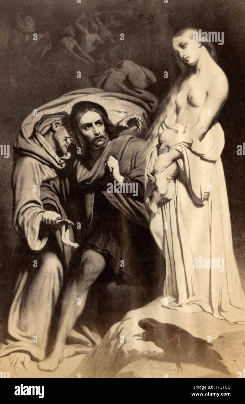 Faust at the Sabbath, painting by Ary Scheffer Stock Photo