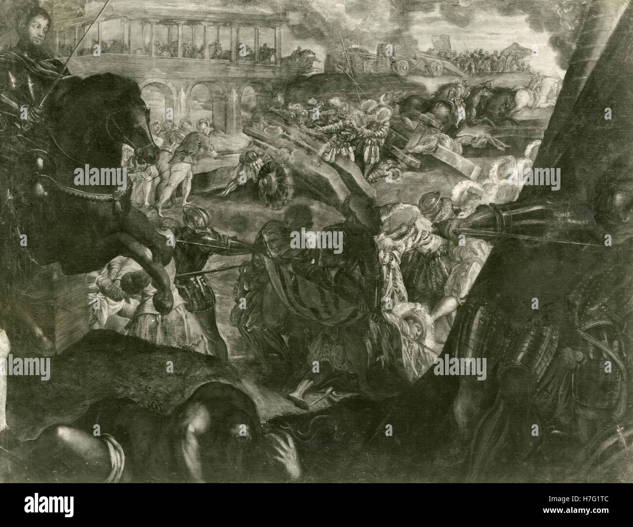 Frederick II conquered Parma in 1521, painting by Tintoretto - Stock Image
