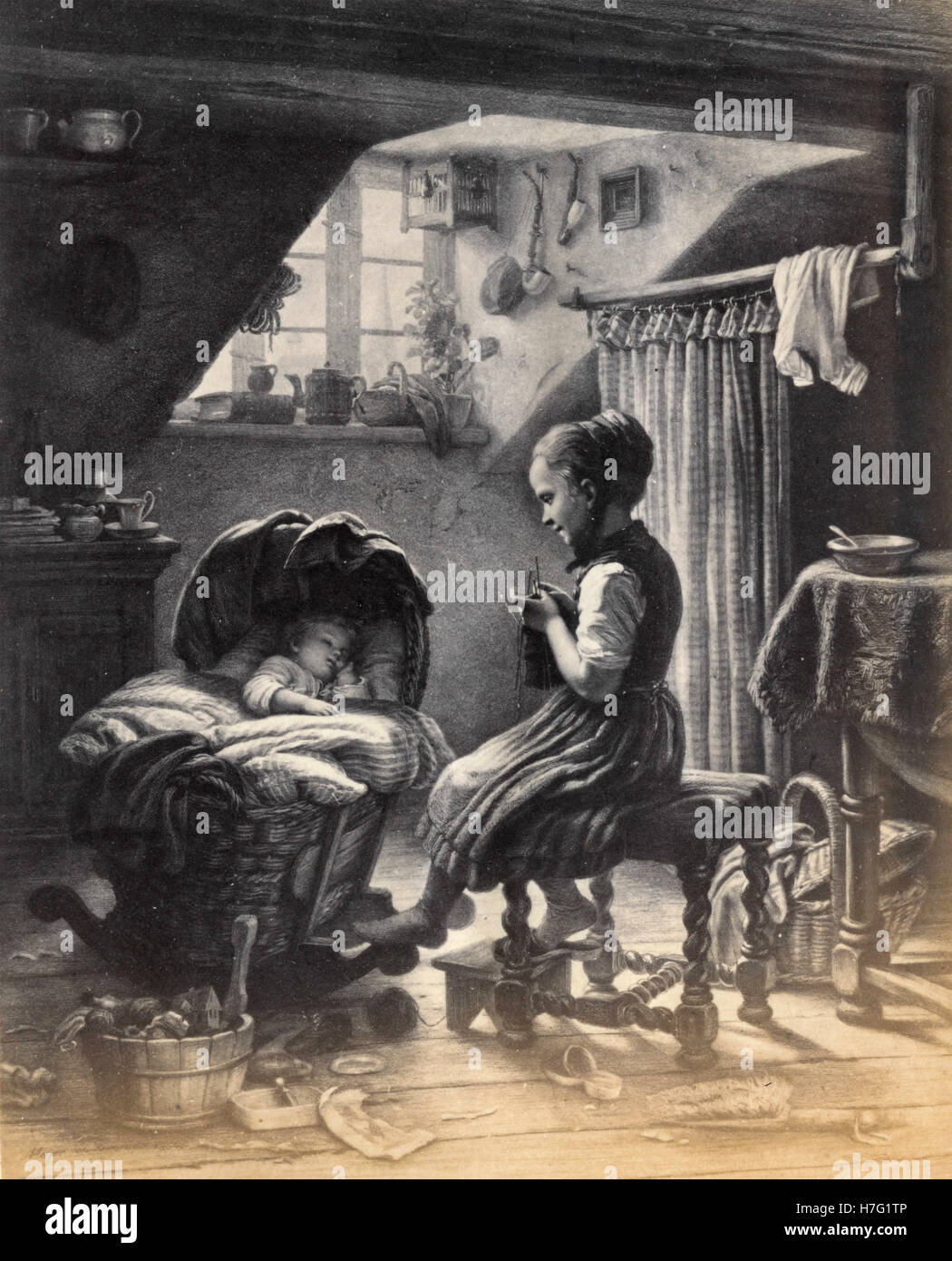 Tending the little ones, print after Johann Georg Meyer von Bremen - Stock Image