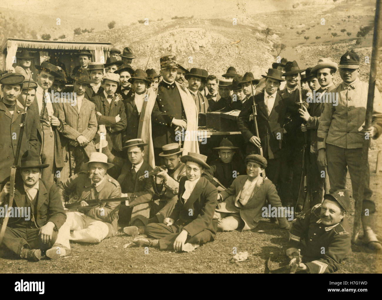 Group of shooters at the shooting range, Italy 1908 - Stock Image