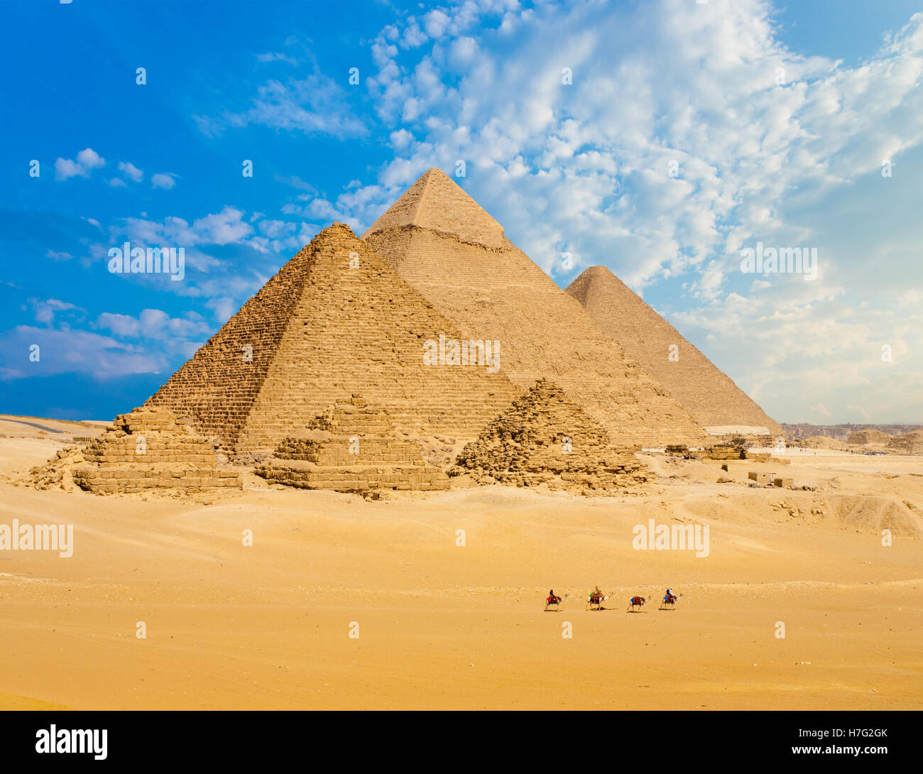 All Egyptian Pyramids from distance with row of camels walking in foreground in Giza, Cairo, Egypt.  Wide telephoto - Stock Image