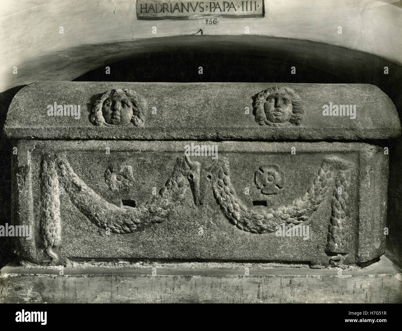 Sarcophagus of Hadrian IV, Grotto of the Vatican Basilica, Vatican - Stock Image