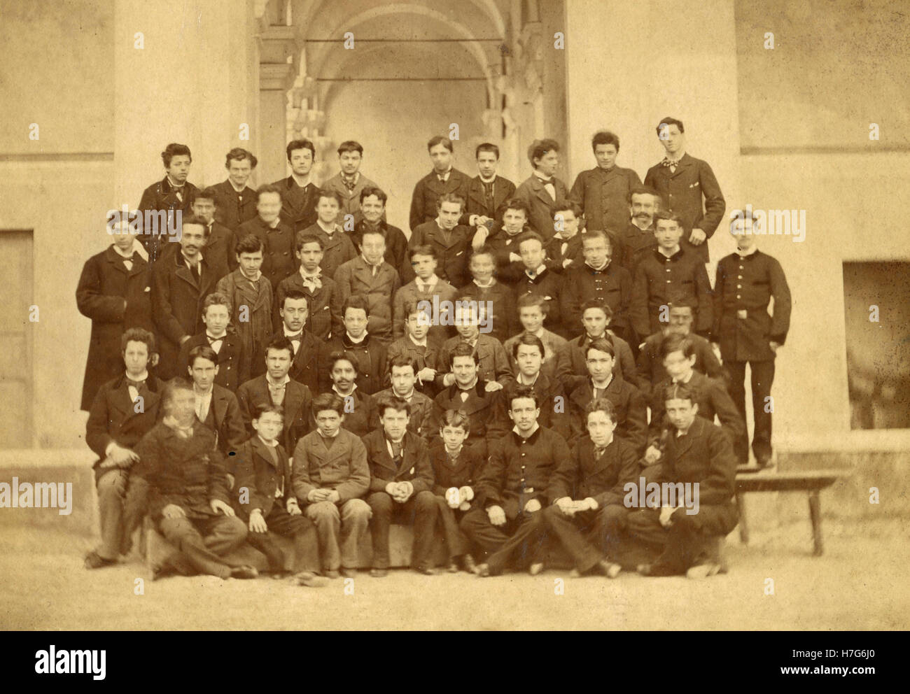 College group photo, Italy - Stock Image