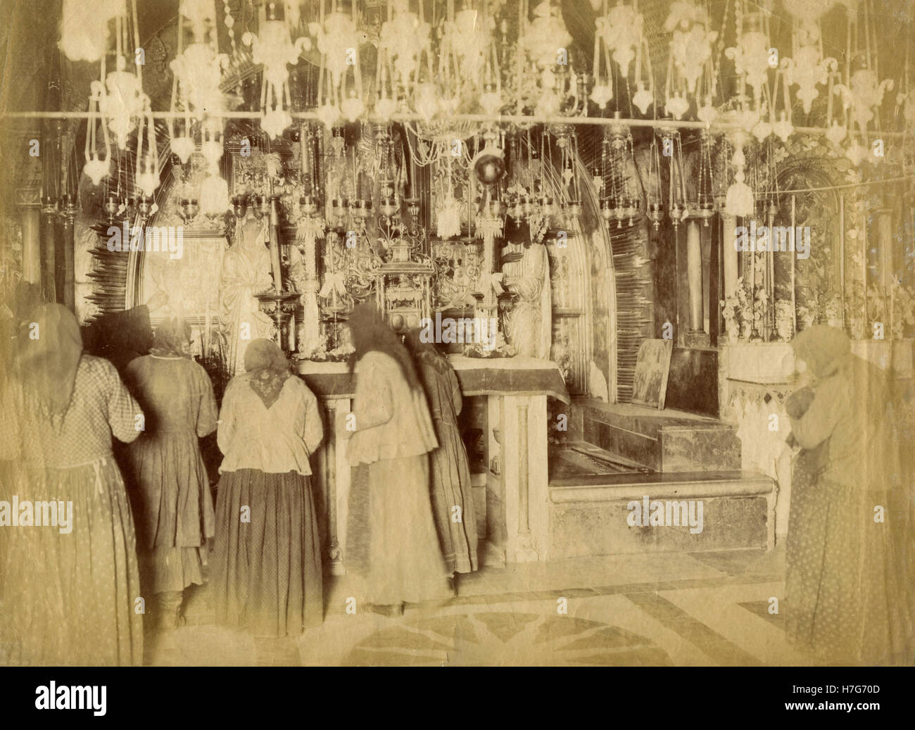 XII and XIII Station Calvary, Church of the Holy Sepulchre, Jerusalem - Stock Image