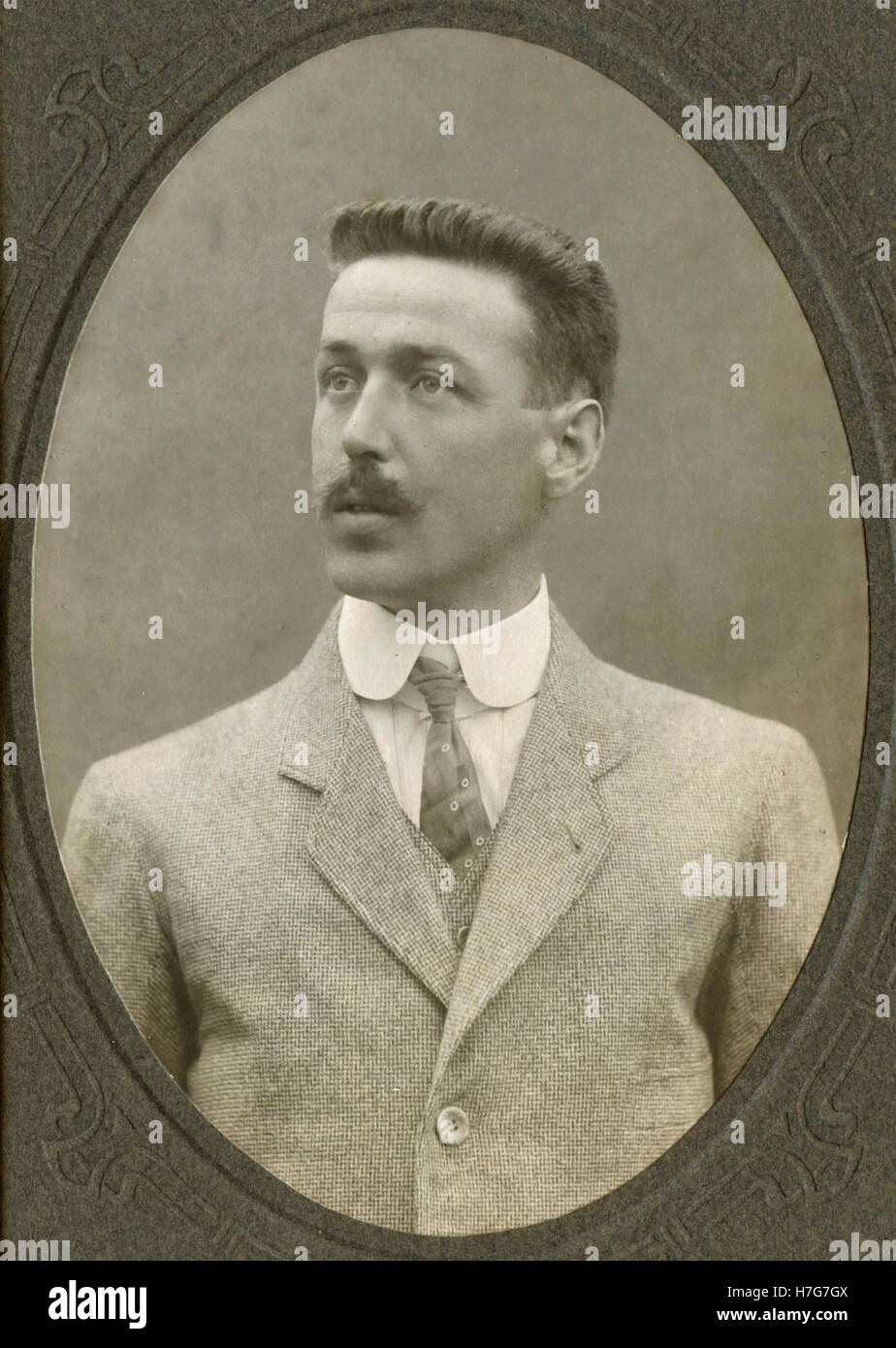 Portrait of man with moustache, Italy - Stock Image