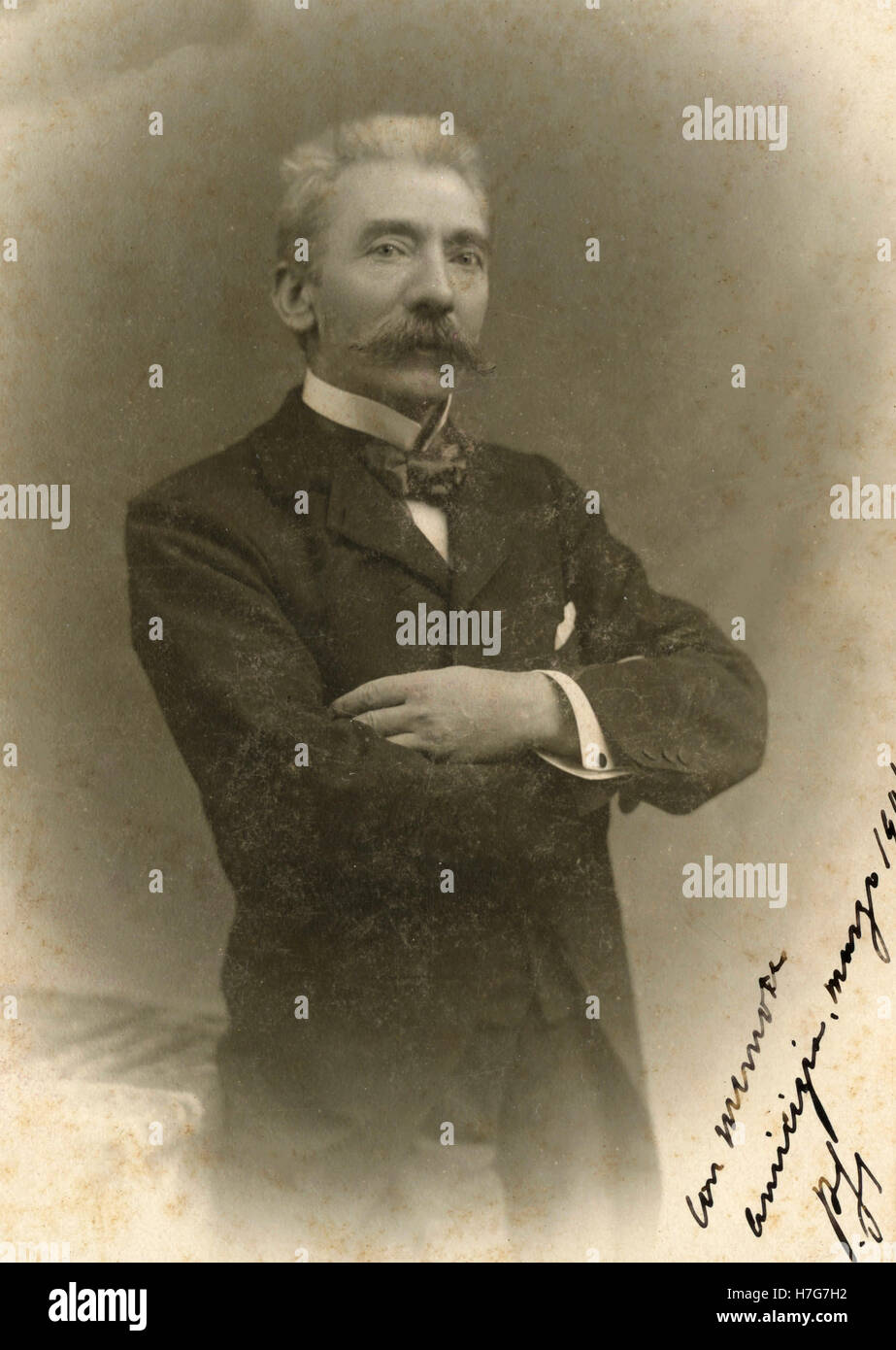 Portrait of man with long moustache, Italy - Stock Image