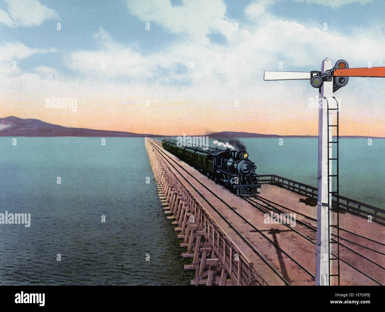 The Lucin cut-off, across Great Salt lake, USA illustration - Stock Image