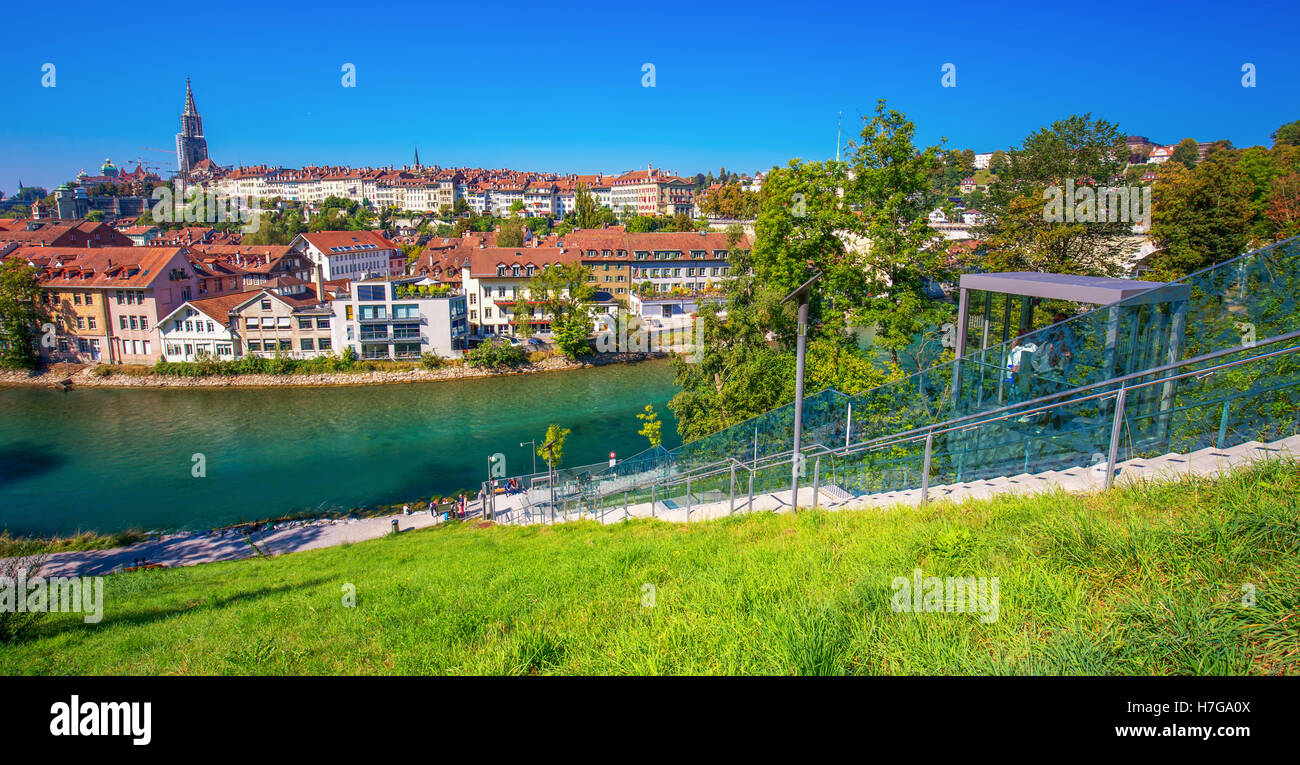 BERN, SWITZERLAND - September 25, 2016 - Lift in the Bern city center. Bern is capital of Switzerland and fourth - Stock Image