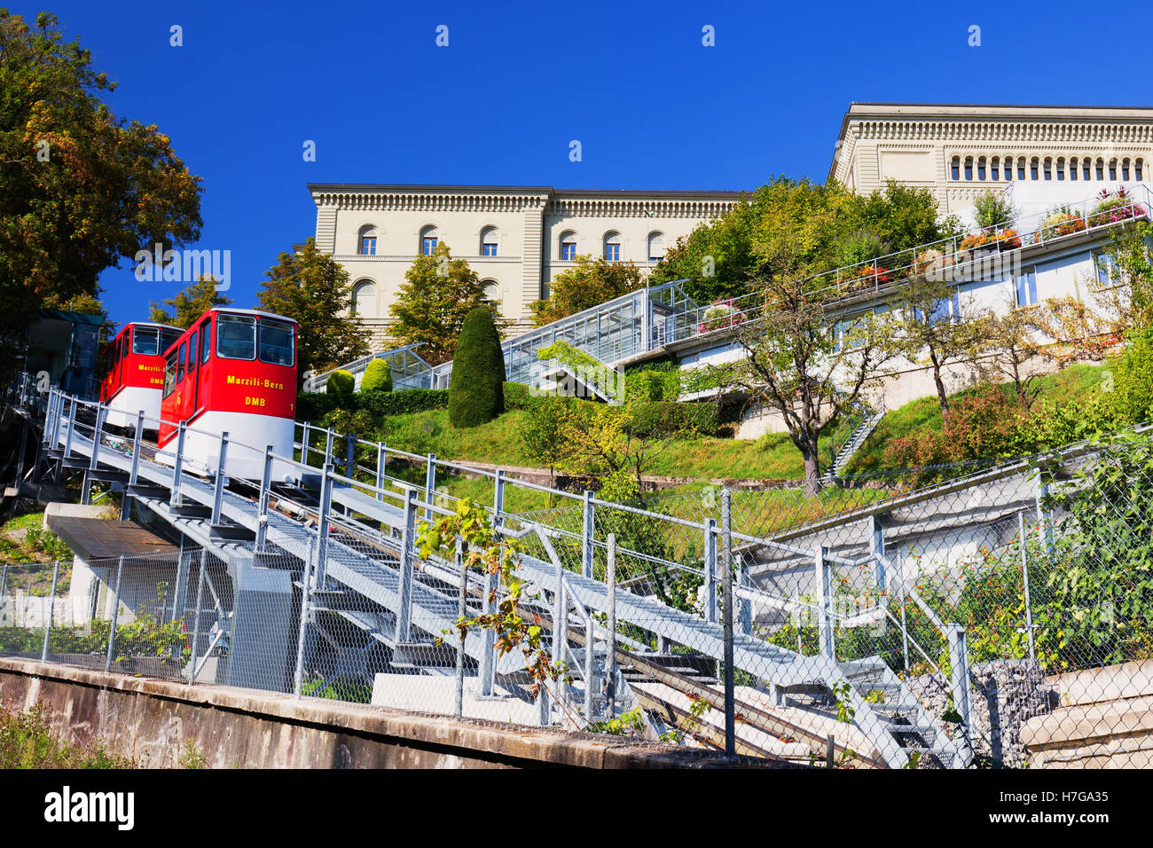 Marzili Bern funicular in the old city center of Bern town.  Bern is capital of Switzerland - Stock Image