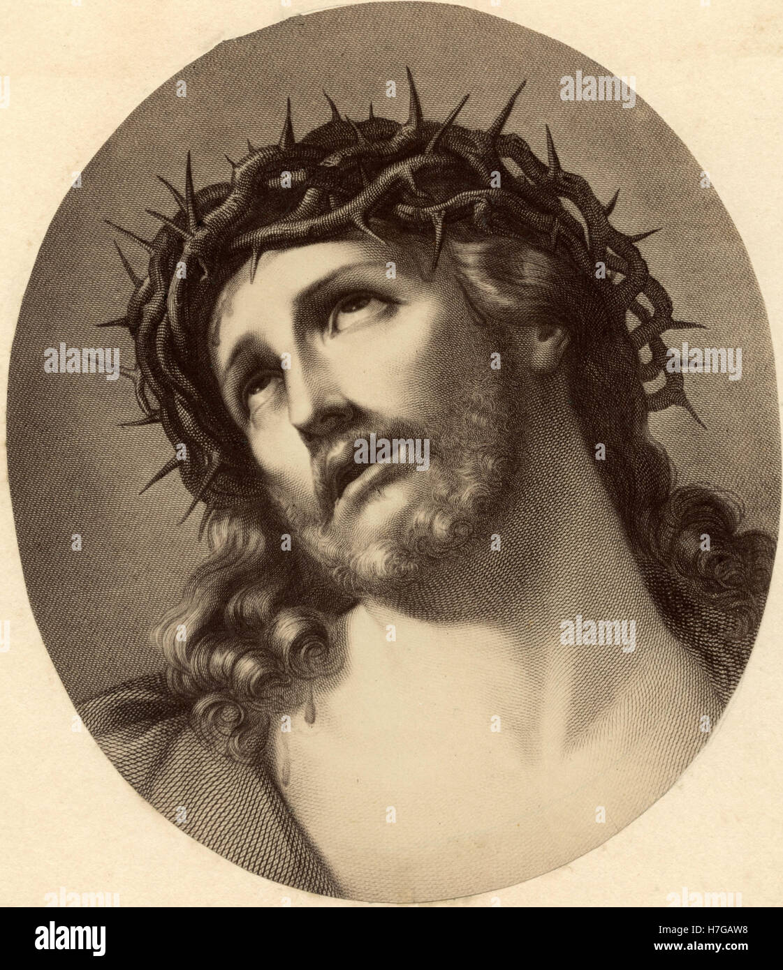 jesus christ with a crown of thorns religious etching stock photo