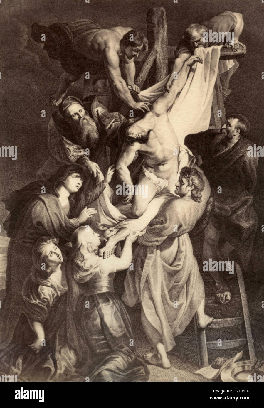 The Descent from the Cross, print by Peter Paul Rubens - Stock Image