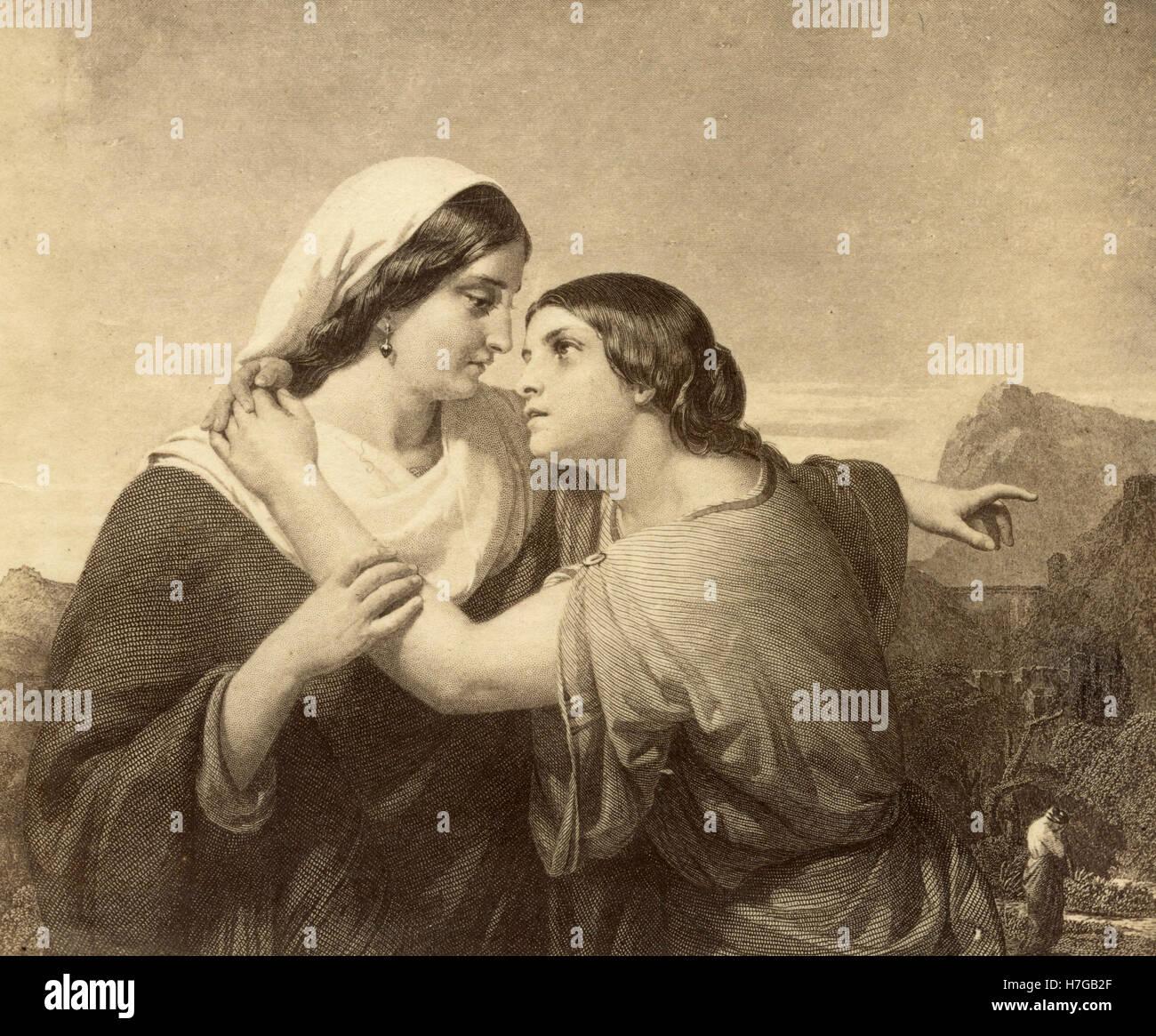 Ruth and Naomi, print - Stock Image