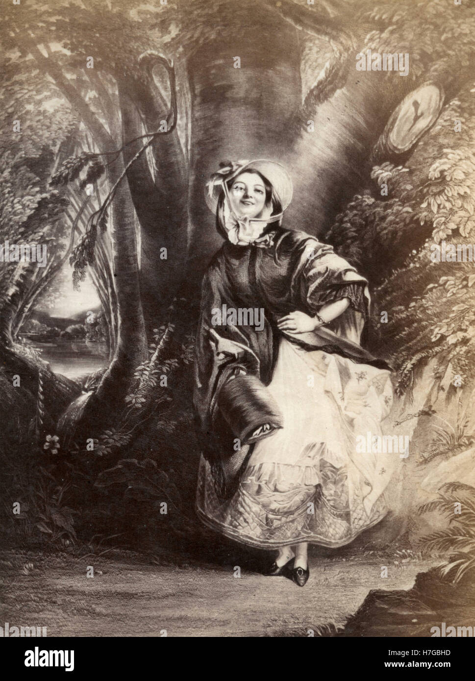 Girl in the wood, etching - Stock Image