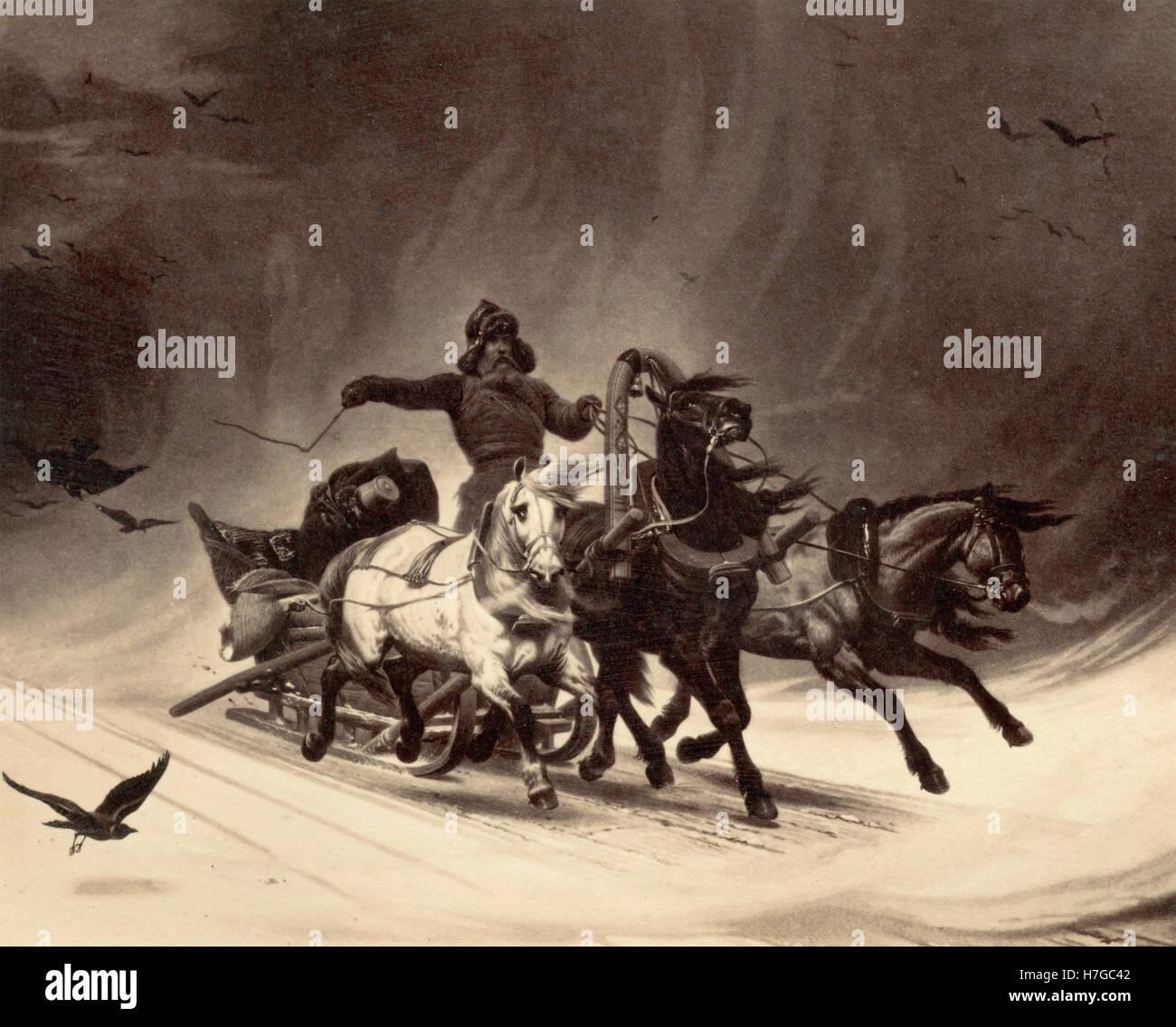 Dashing Russian coachman, Victorian Age print - Stock Image
