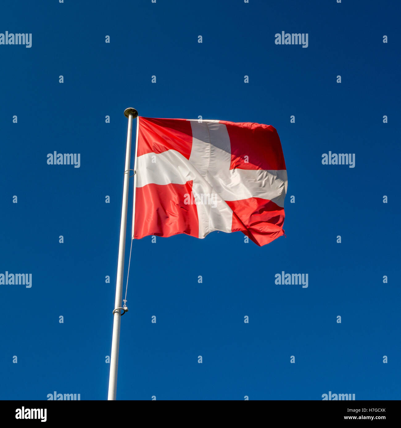 The read and white flag of Savoie flag, Annecy, France - Stock Image