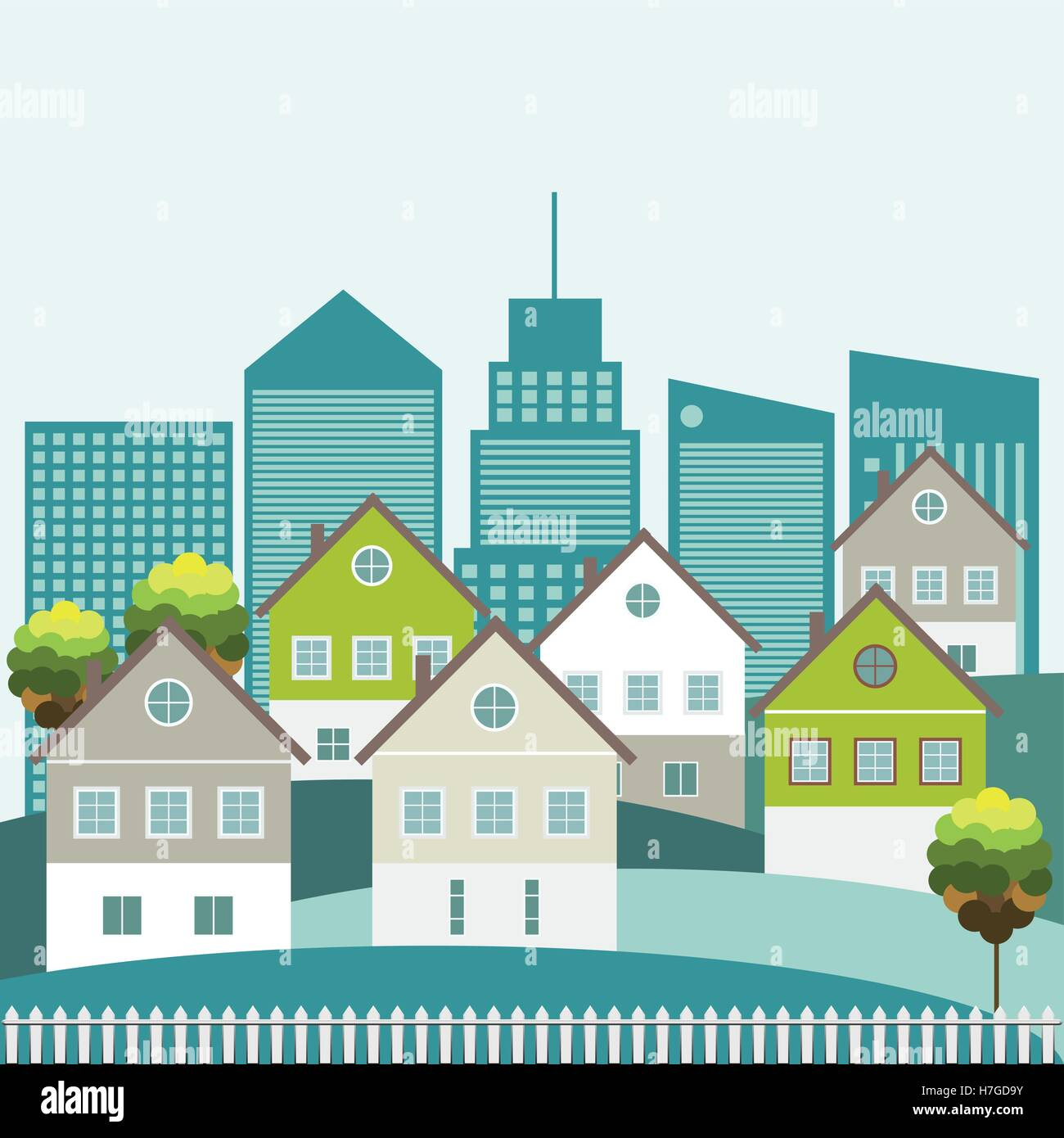 Colorful Houses For Sale / Rent. Real Estate. Energy Efficiency, Think Green Concept Stock Vector
