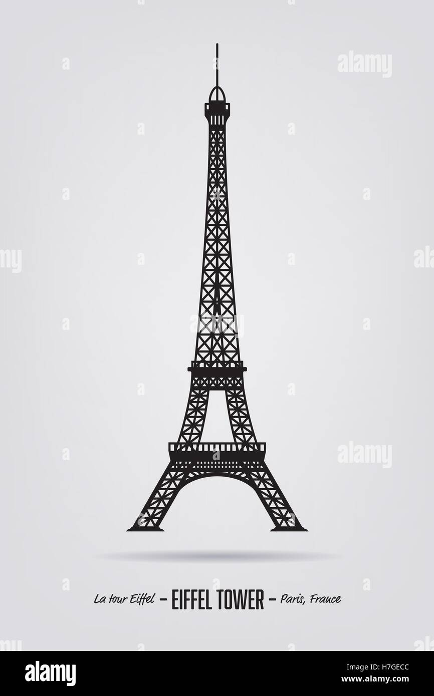 Vector poster with the silhouette of the Eiffel tower - Stock Vector