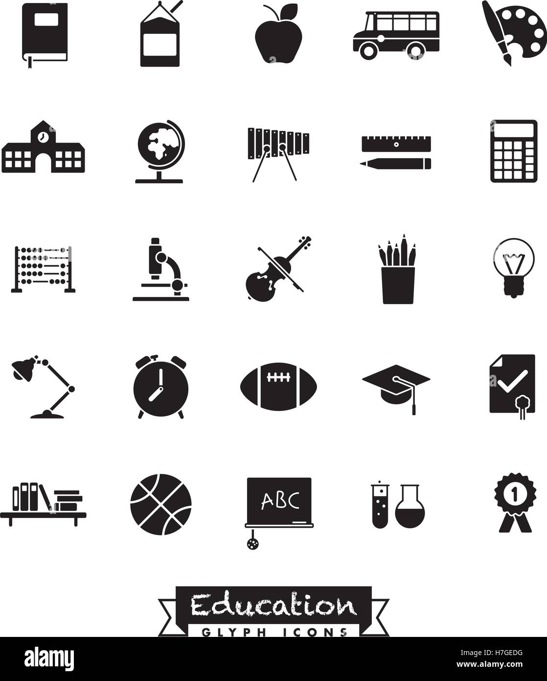 Collection of school and education related vector glyph icons - Stock Image
