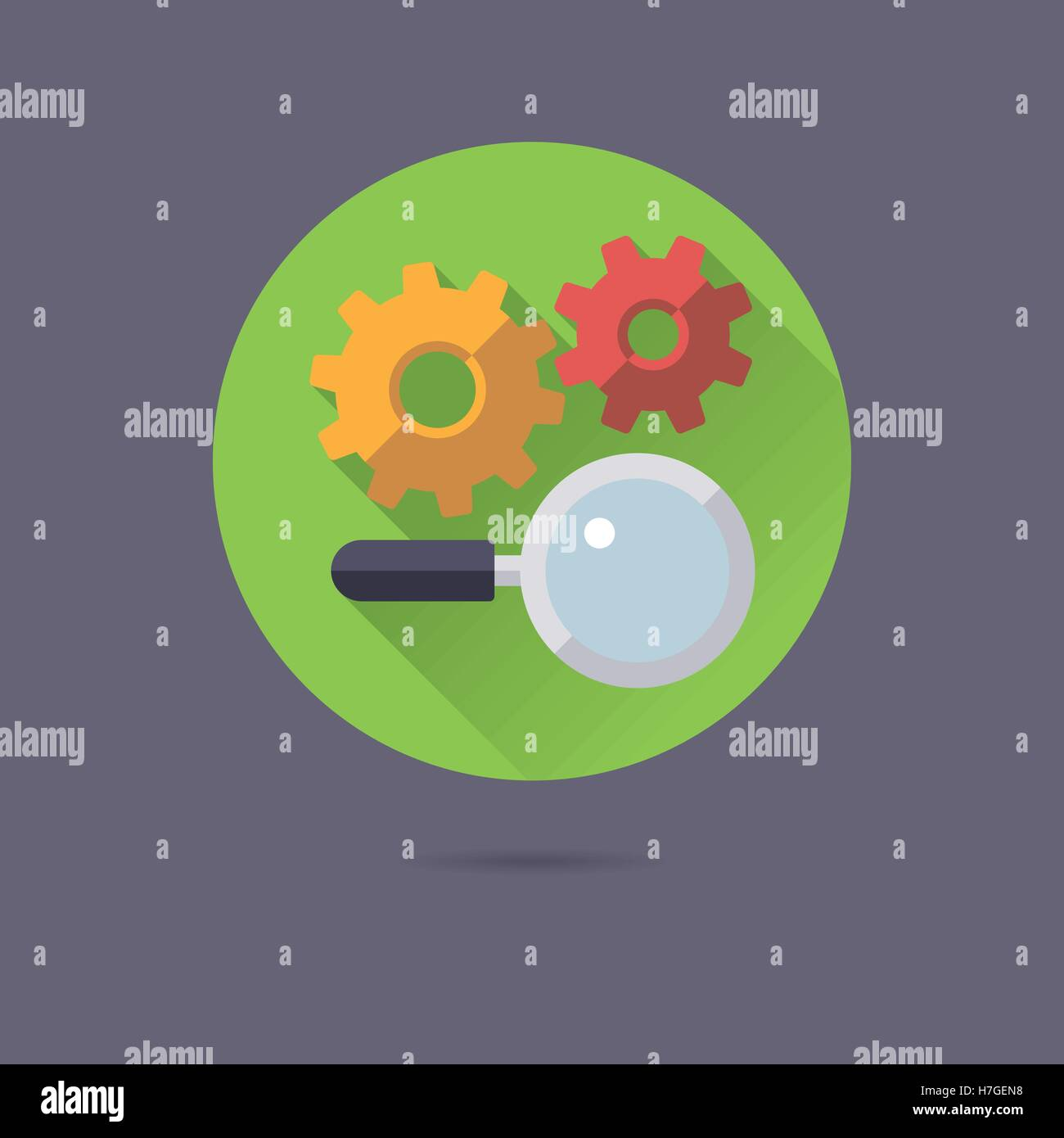 search engine optimization flat design long shadow vector icon - Stock Vector