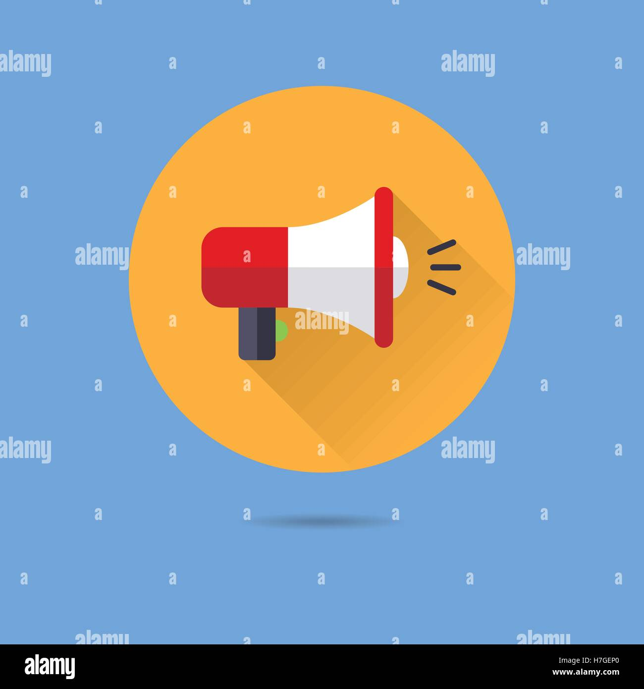 viral marketing megaphone flat design long shadow vector icon - Stock Image