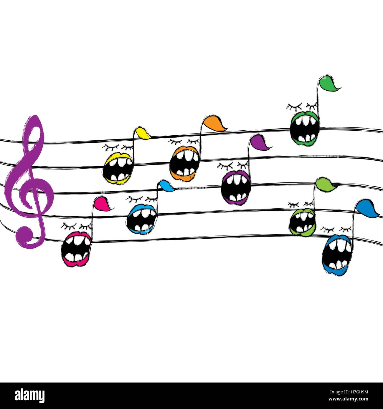 Music notes cartoon background full vector elements Stock ...