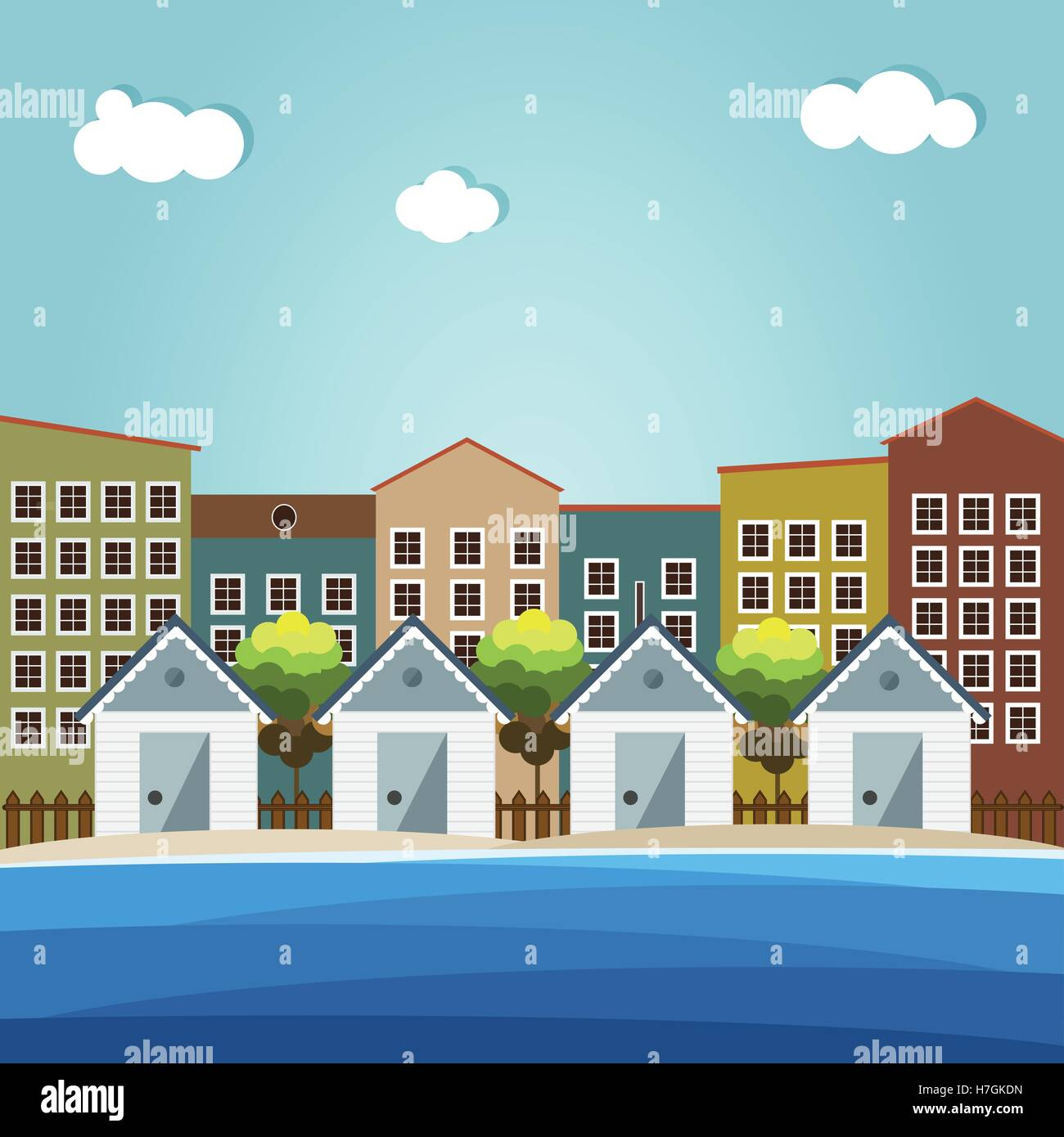 Colorful Beach Huts, City Background - Stock Vector