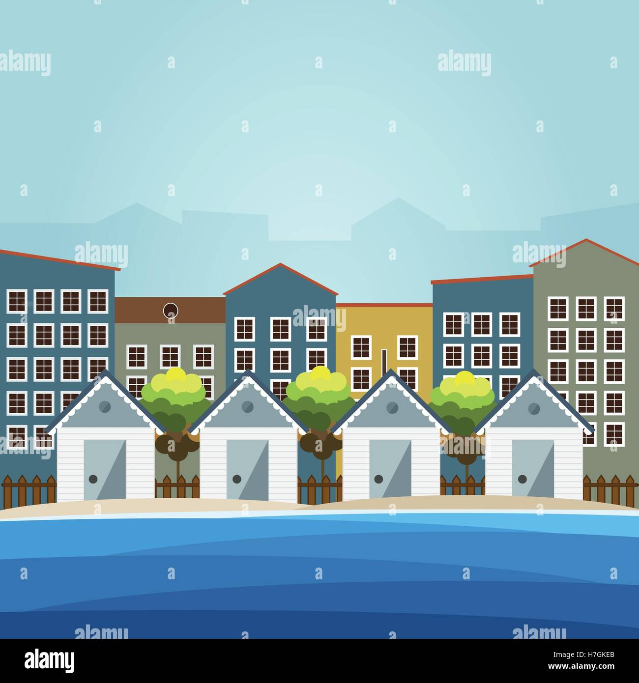 Colorful Beach Huts, City Background Stock Vector