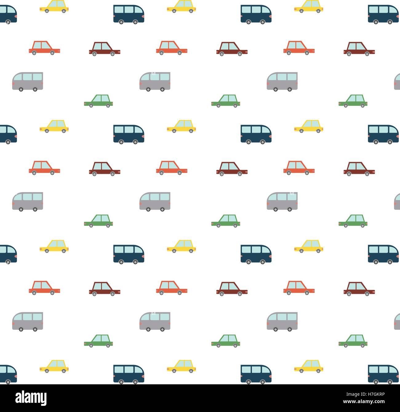 Blue Retro Cars Pattern - Stock Image