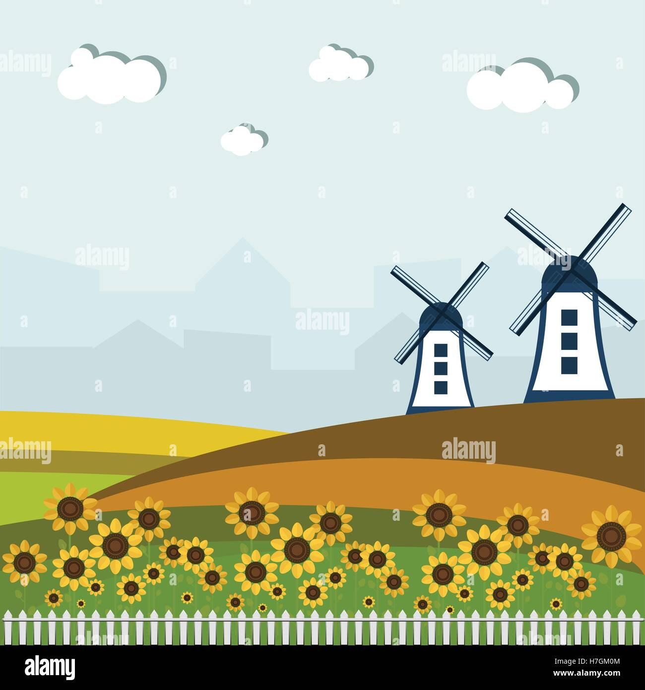 Colorful Fields With Windmills And Houses - Stock Vector
