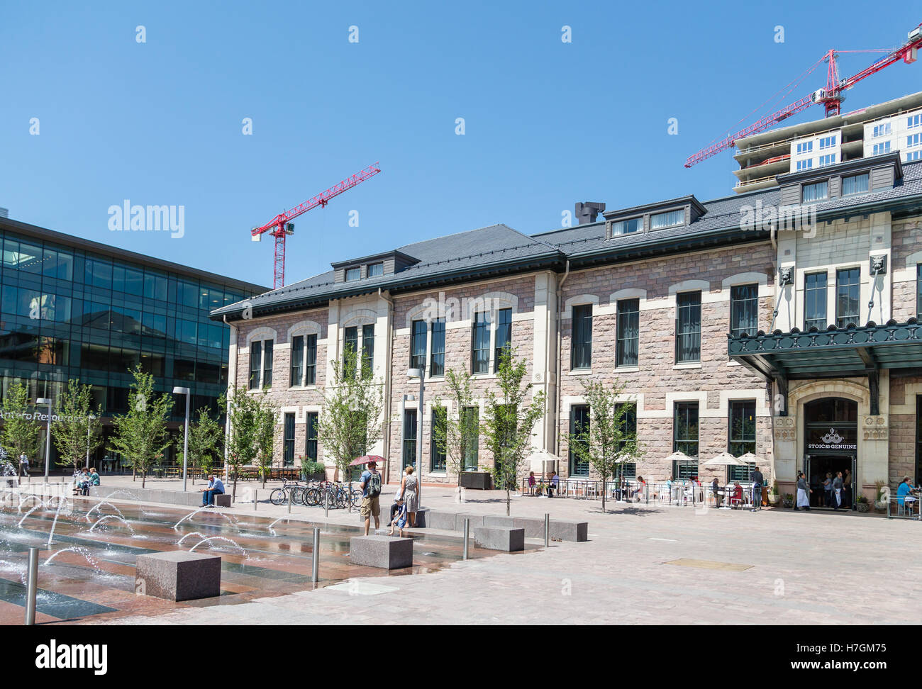 Fountain and Patio of Stoic and Genuine in Denver - Stock Image
