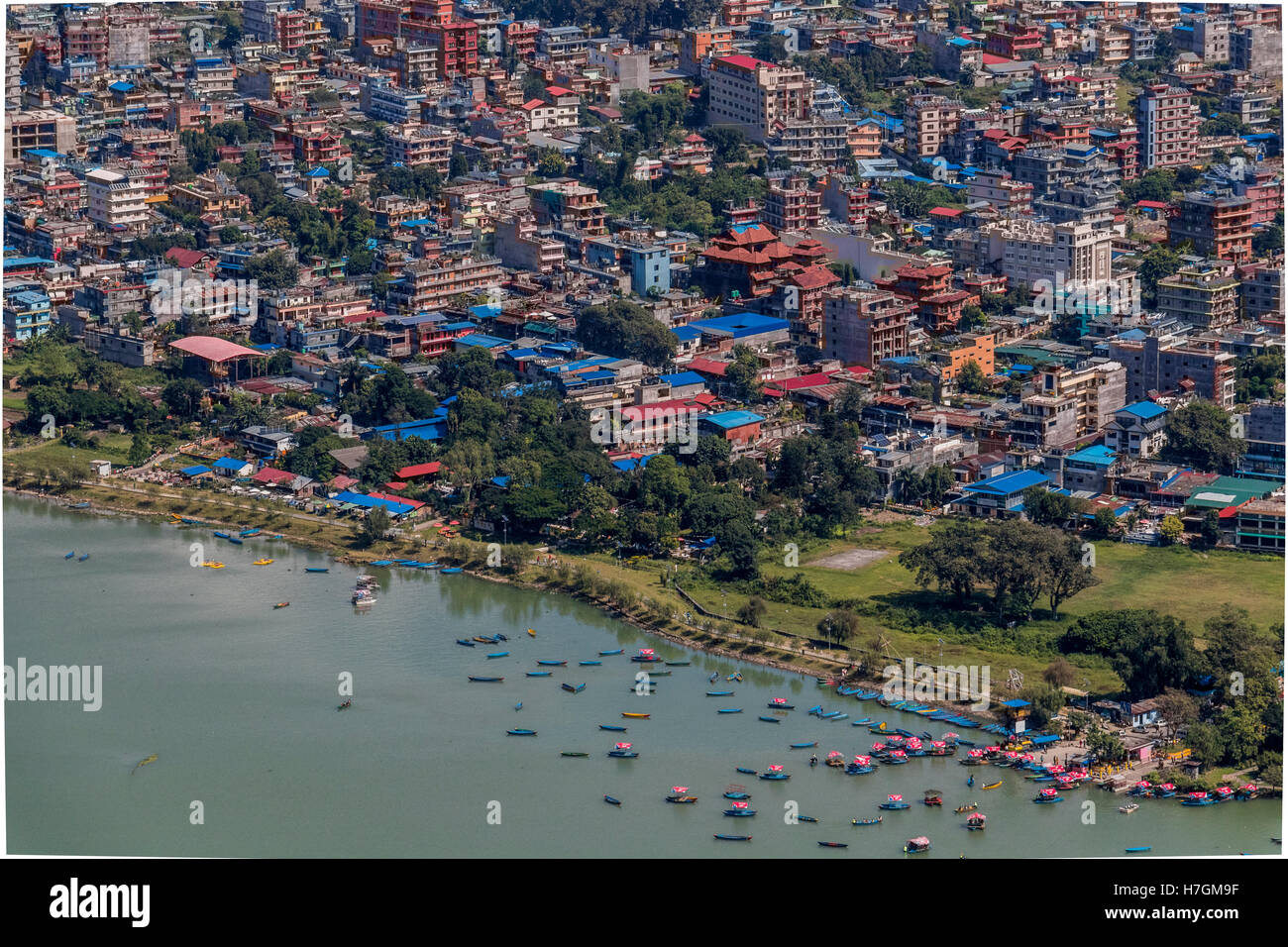 Lake Fewa,and the city of Pokhara,seen from the site of the Peace Pagoda Pokhara Nepal - Stock Image