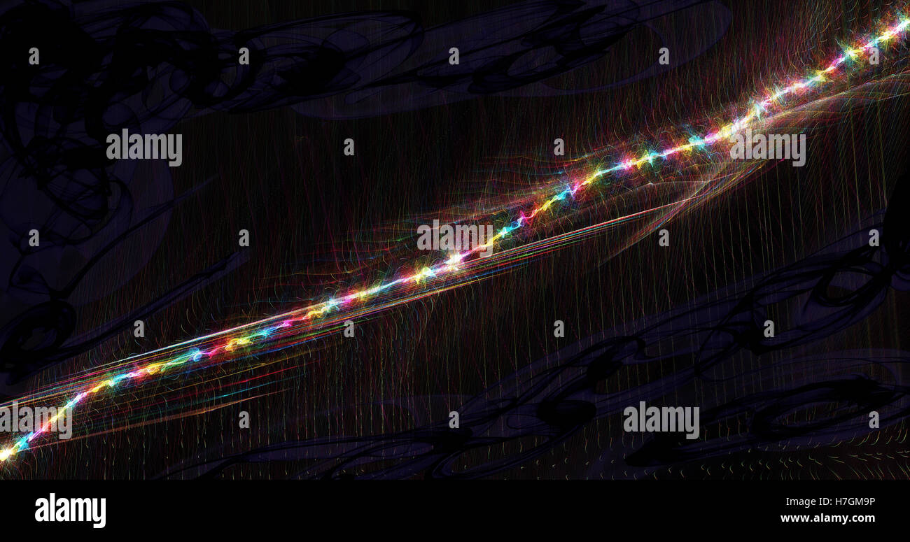Abstract Diagonal Line Of Rainbow Colors Rising On Dark Background - Stock Image
