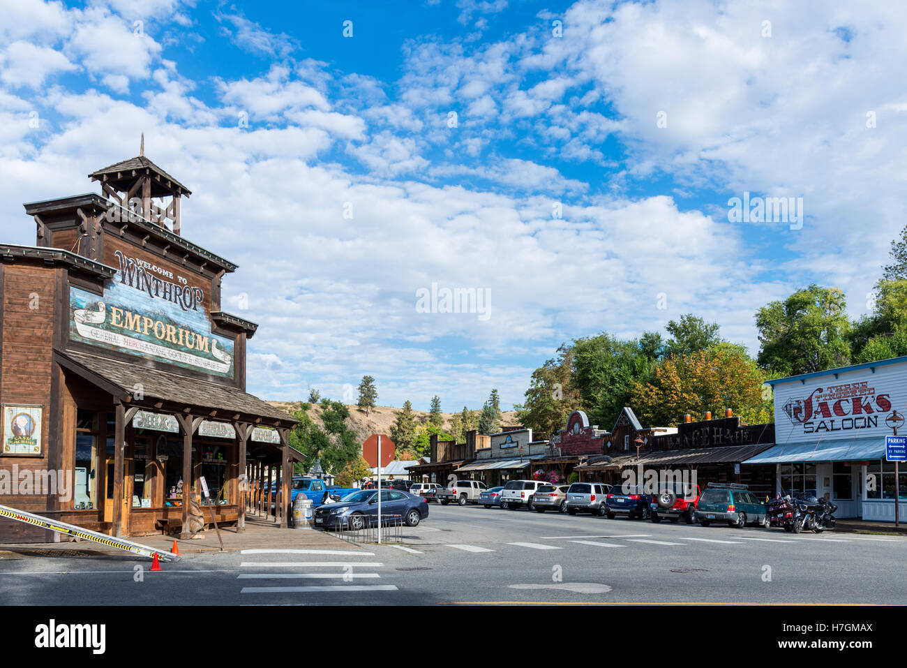 Street view of a traditional western town Winthrop, Washington, USA. - Stock Image