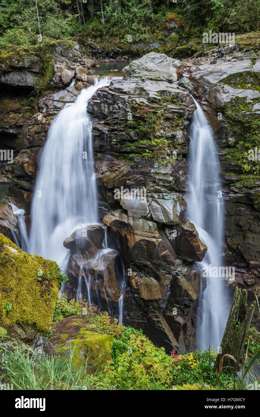 The Nooksack Falls, a beautiful waterfall in the Mt Baker Wildness area. Washington, USA. - Stock Image