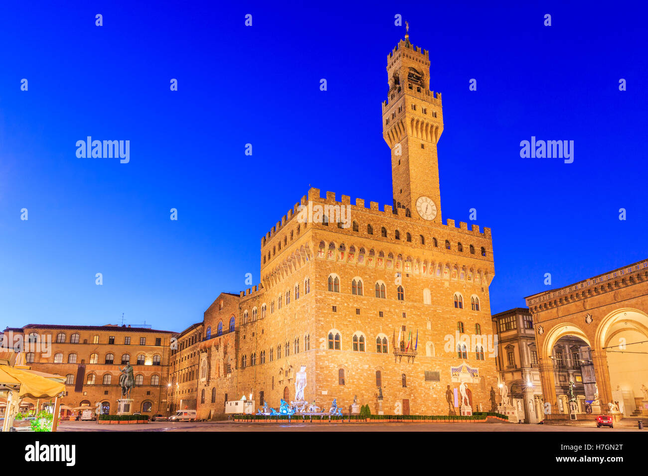 Palazzo Vecchio in Florence at twilight. Tuscany, Italy - Stock Image