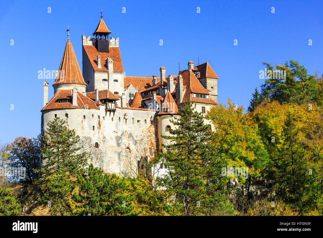 The medieval Castle of Bran, known for the myth of Dracula. Transylvania, Romania - Stock Image