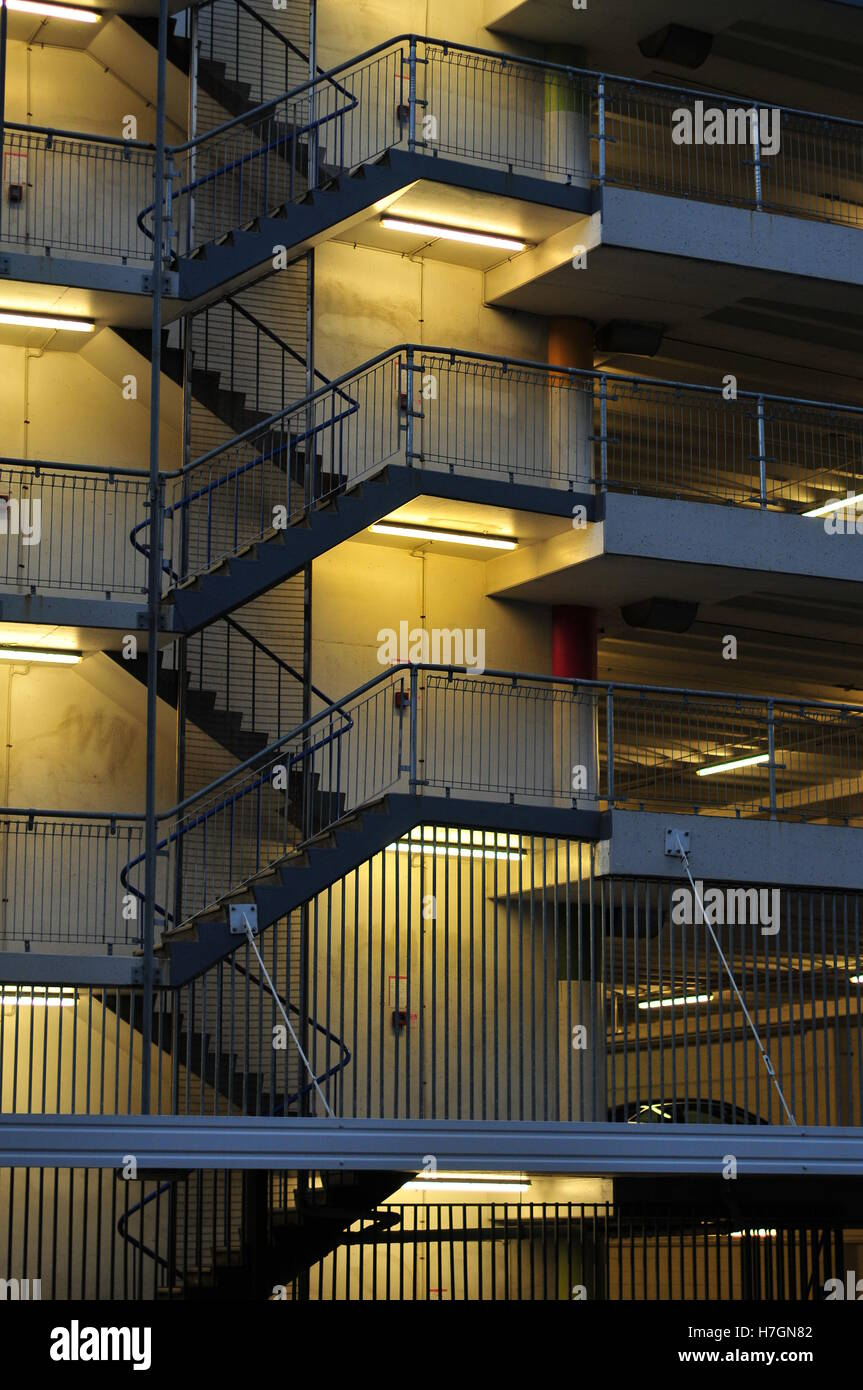 Outside staircase a of multi-story car park building on Victoria Street in Auckland. - Stock Image