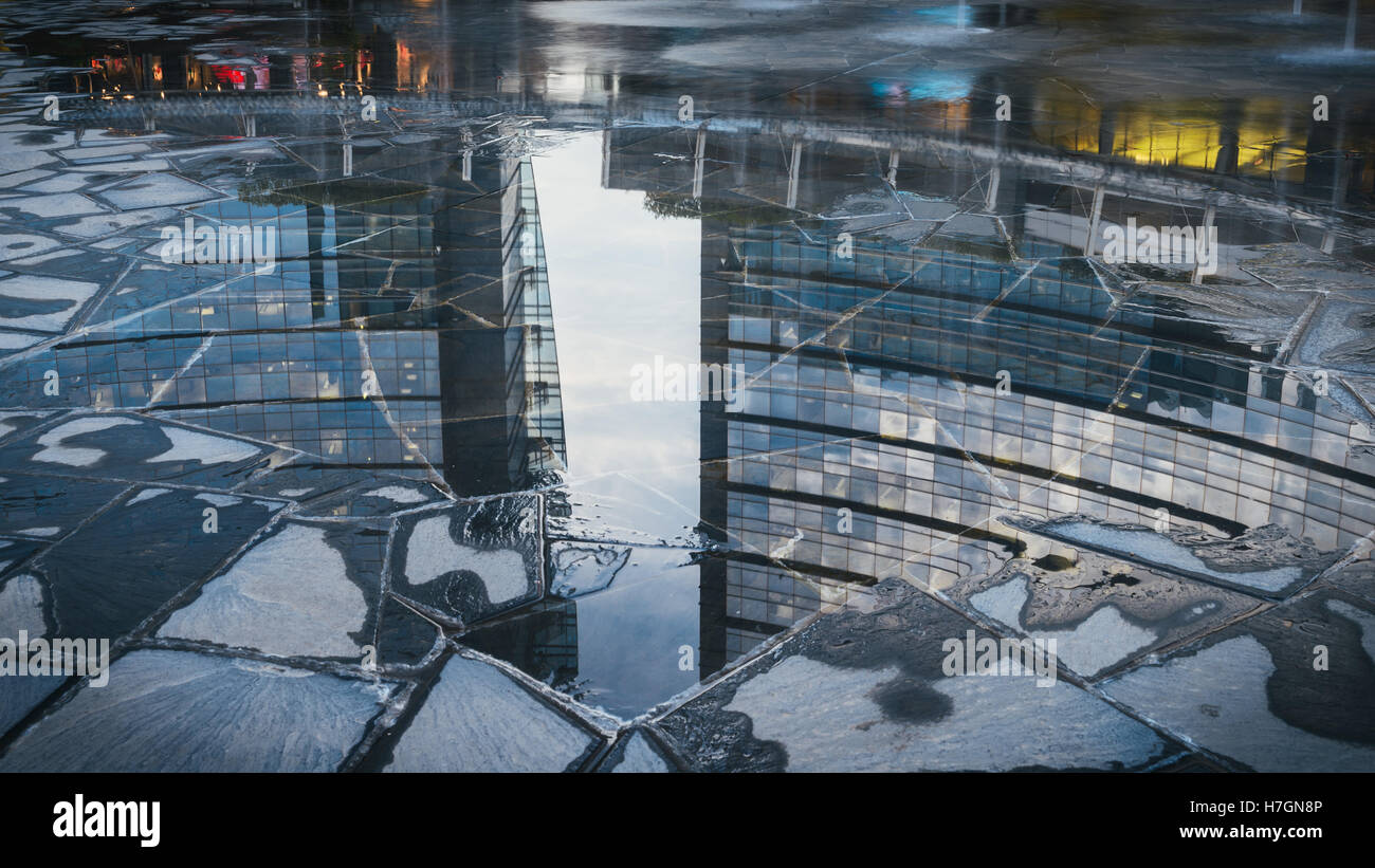 Reflection of modern building in Gae Aulenti square, the new finalcial district at Porta Garibaldi built for EXPO Stock Photo