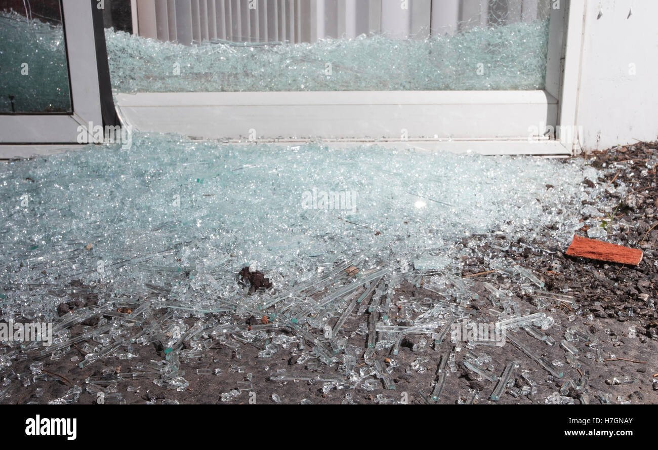 Sliding Glass Door That Has Been Shattered By A Home Invader Stock Image
