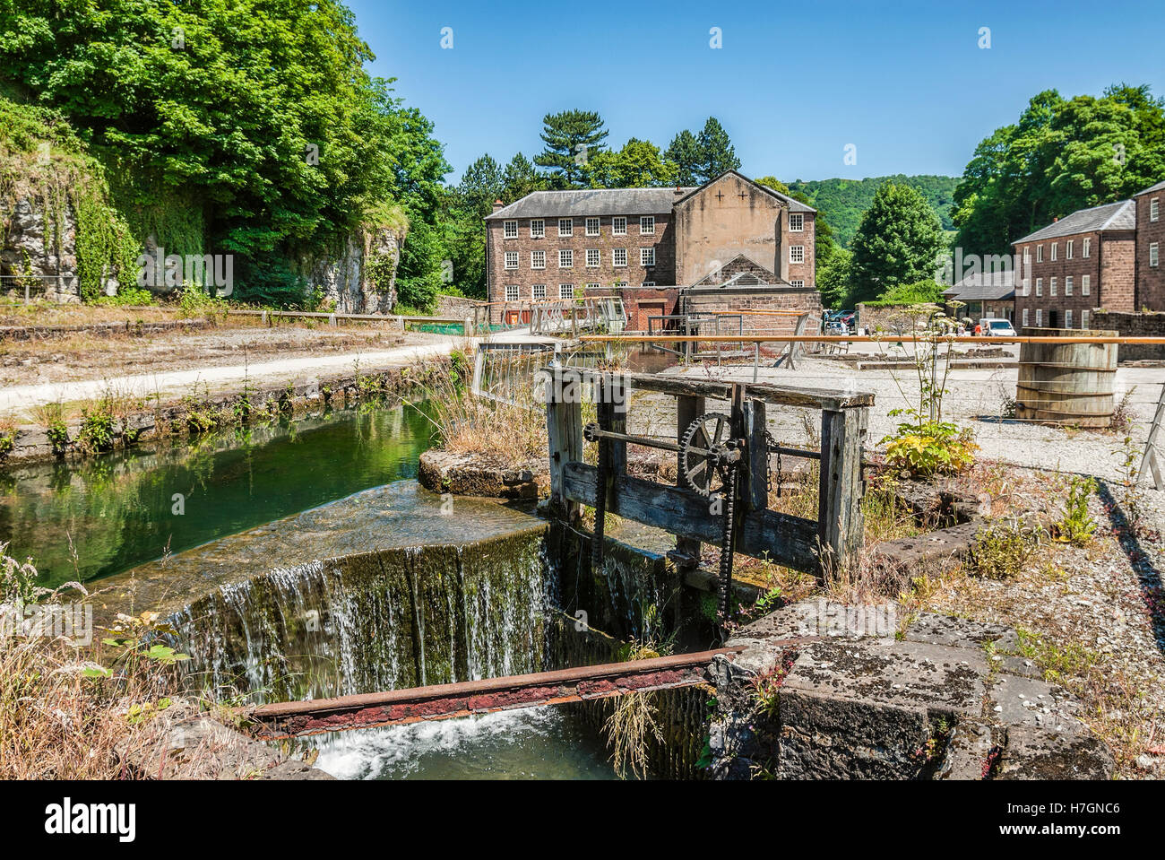 Cromford Mill was the first water-powered cotton spinning mill developed by Richard Arkwright in 1771 in Cromford, - Stock Image