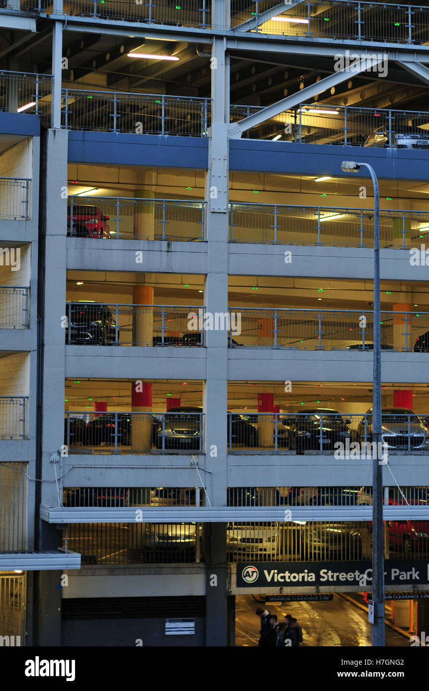 Multi-story car park  in a city. - Stock Image
