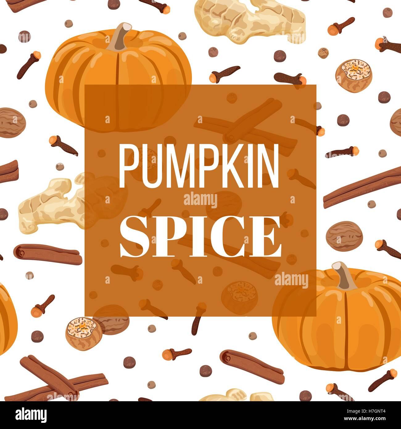 Pumpkin Spice Seamless Pattern Vector Set Nutmeg Ginger Cloves Cinnamon Allspice Square Label For Food Design P