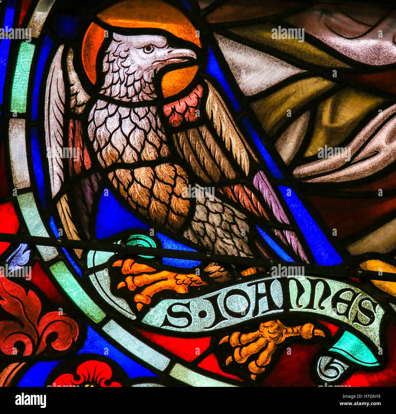 Stained Glass Window Depicting The Eagle, Symbol Of Saint