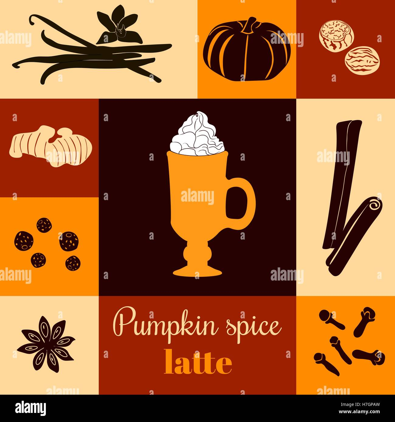 Pumpkin spice latte. Vector illustration with pumpkins, nutmeg, ginger, cloves, cinnamon, allspice, star anise, - Stock Vector