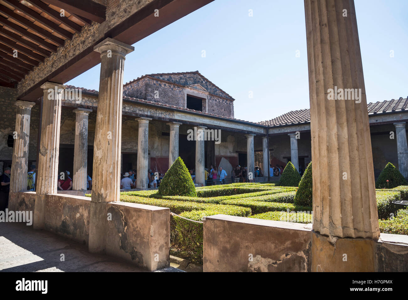 Arcaded Court of the  Roman house in Pompeii,, archaeological site, Campania region, Italy - Stock Image