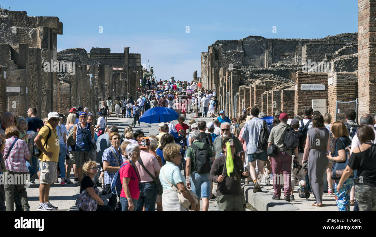 Crowd of visitors, Pompeii most visited tourist place in Italy,  archaeological site, Campania region, Italy - Stock Image