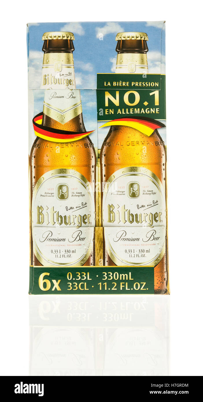 Winneconne, WI - 3 November 2016:  Six pack of Bitburger beer on an isolated background. Stock Photo